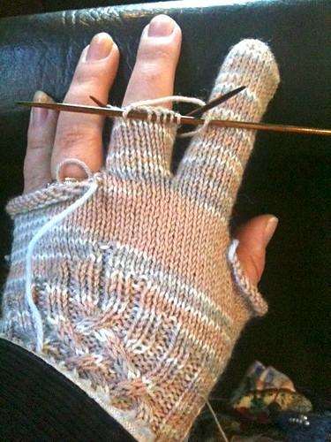 Knotty Gloves in progress