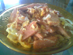 Luncheon meat with onions and egg