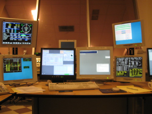 The computer, and all its monitors, used to control the telescope.