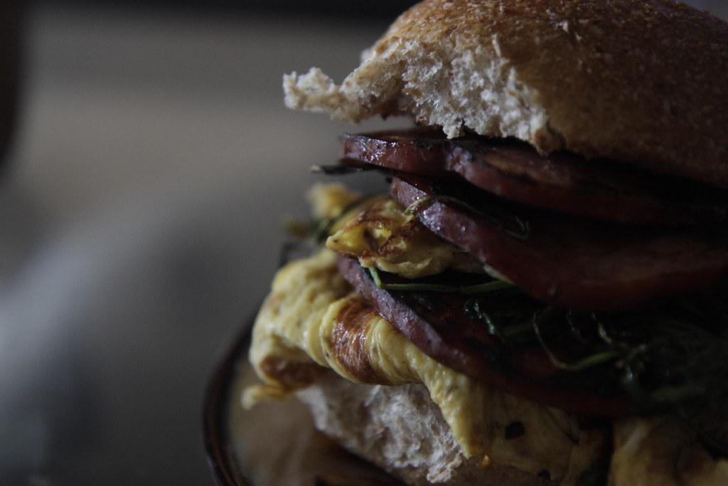 Ham, egg, arugula, shallots, and a crispy wheat bun!
