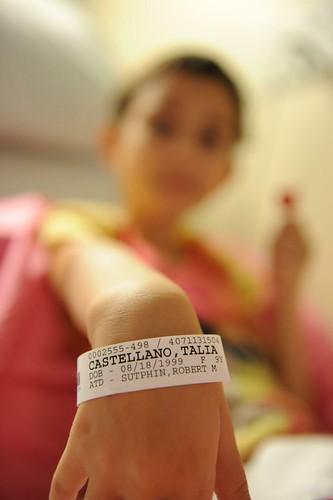 Talia's hospital band