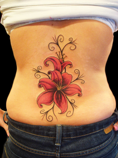 Lily Flower tattoo. Miguel Angel Custom Tattoo Artist