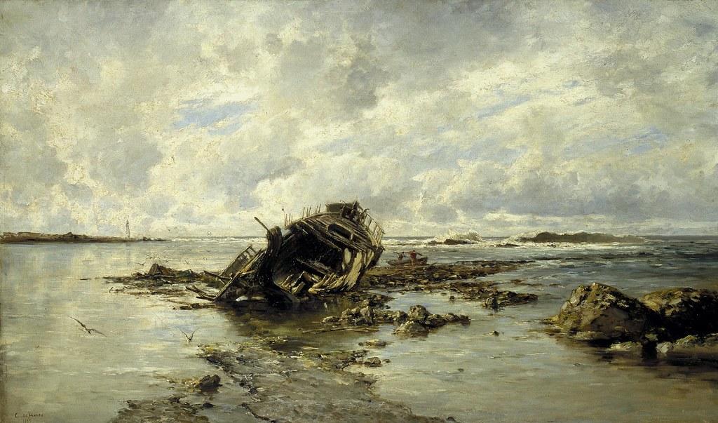 Carlos de Haes (Brussels, 1826-Madrid, 1898) Un bardo naufragado (c. 1883) Oil on canvas. 59 by 101 cm. Museo Nacional del Prado, Madrid.