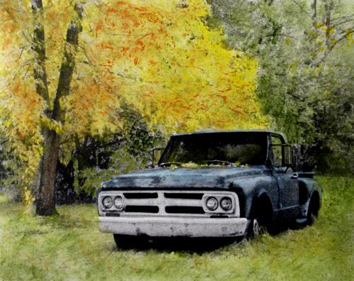old truck hand colored photo (c) 2009, Lynne Medsker