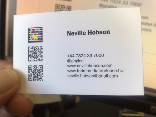 How to make your business card a smart card neville hobson the image you see at the top of this page shows three mobile barcodes that appear on my business card reheart