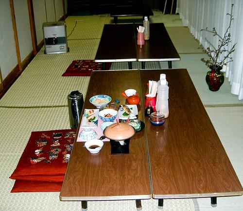 Cena en el ryokan.