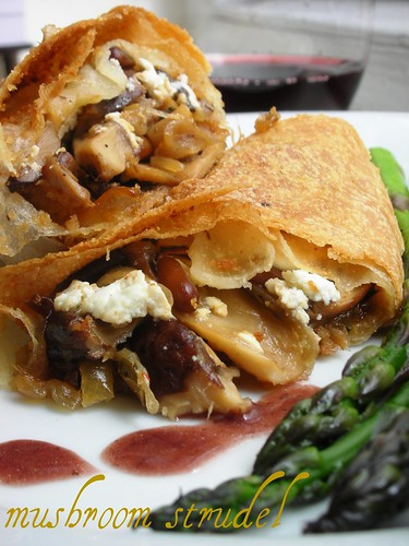 mushroom and goat cheese strudel