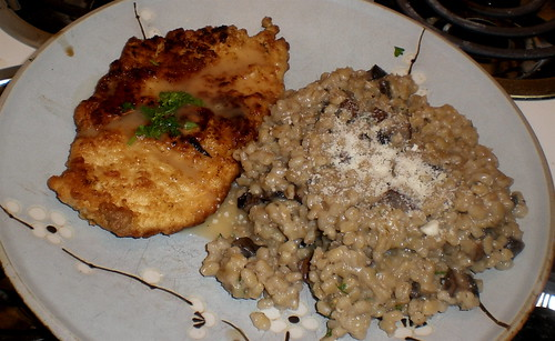 Chicken Francese with Mushroom Barley Risotto