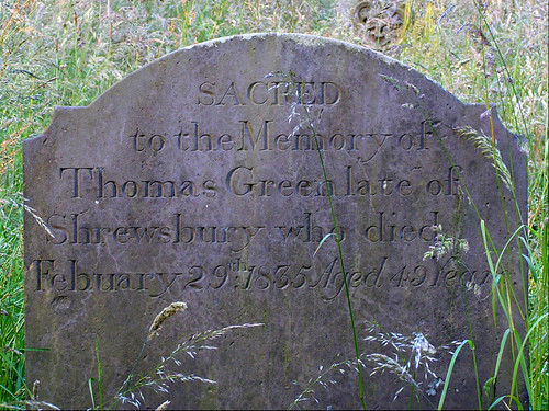 Leap-year Grave in Clive Churchyard