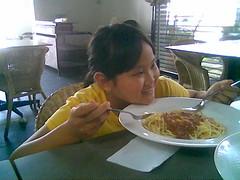 Sam enjoying her spaghetti