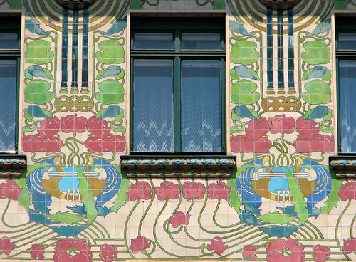 Details of Majolica house's facade by you.