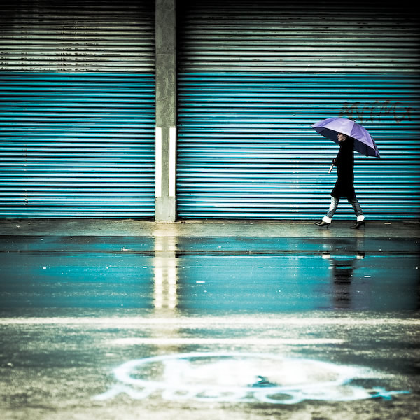Cuba Gallery: Blue / rain / reflection / urban / graffiti / umbrella / walking / woman / street photography
