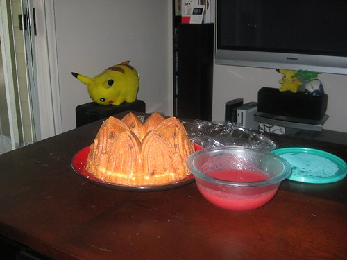 white chocolate pound cake with strawberry coulis