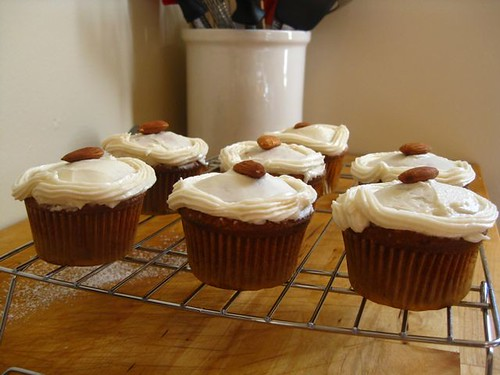 Almond Cupcakes with Amaretto Frosting