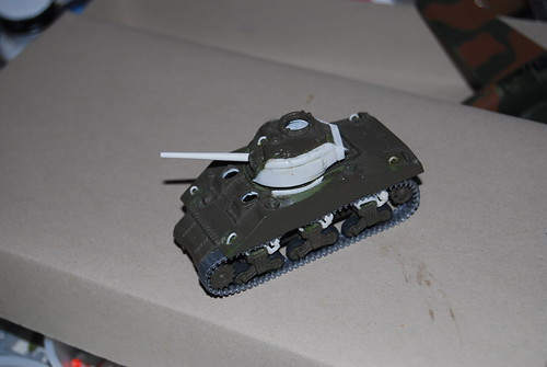 Airfix M4 (Sherman) with improved turret, gun, return rollers and return skids.