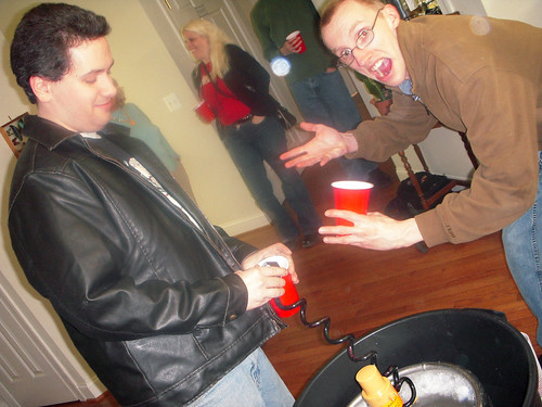 20090321 - Jay's 30th birthday party - Clint, Carolyn, John - getting beer - (by AE) - 3384717949_0954d81166_o