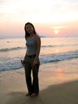 Maggie @ Sanya Bay sunset
