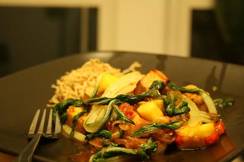 Pineapple Bok Choy Tofu Stiry Fry with Shirataki Noodles