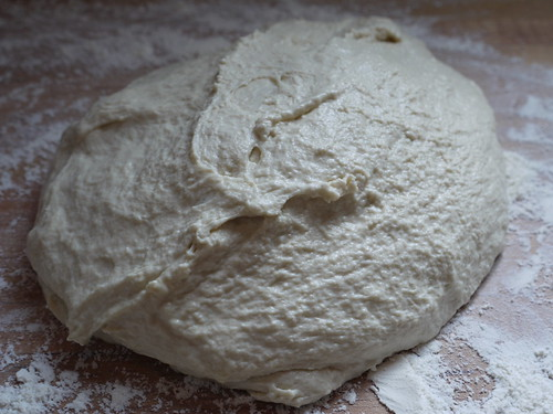 Ciabatta - Dough turned out onto counter