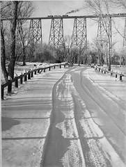 Snow Covered Road In Indian Battle Park; Viadu...