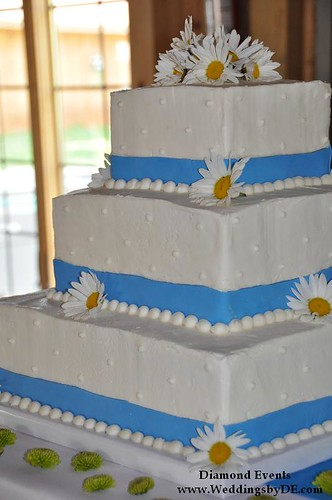 Daisy Cake with blue ribbon