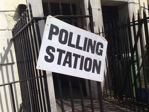 Polling Station sign on railings