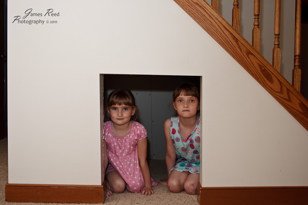 The girls take shelter during a tornado warning.