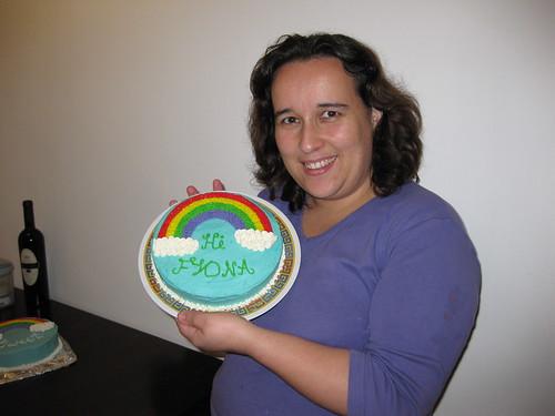 My rainbow cake and I