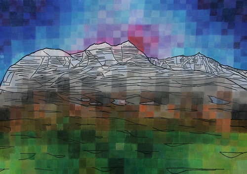 Liathach, 2008, glitter, pen & watercolour on chalk and ink