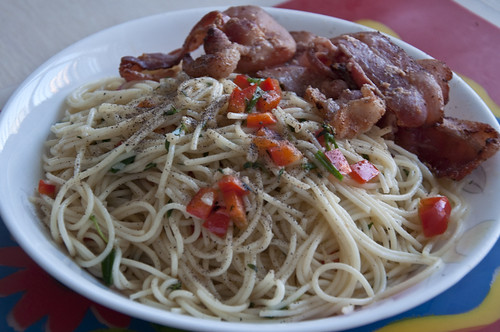 Bacon Aglio Olio for Dinner
