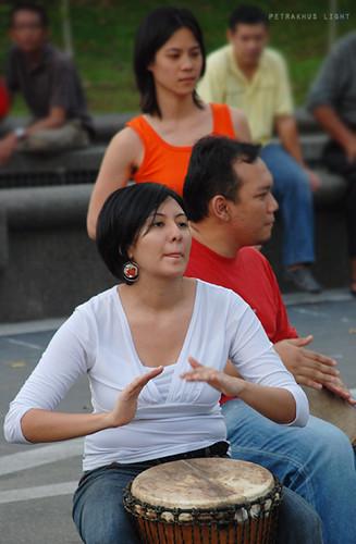 Rare malay girl playing gendang..
