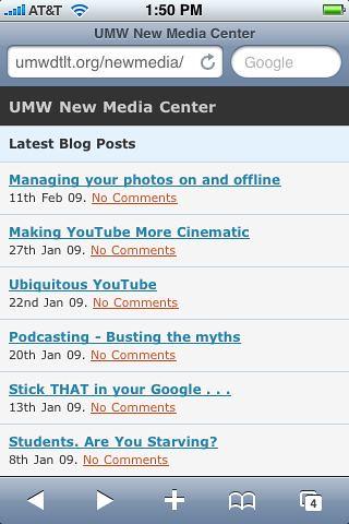 MobilePress view of UMW NMC