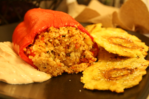 Stuffed Pepper and Tostones