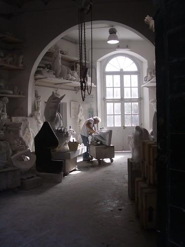 Sculptor's workshop, Carrara.
