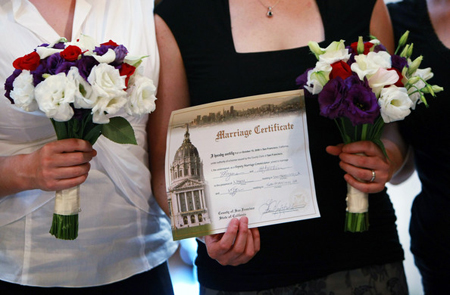 Lyons and Franklin display their CA Marriage Certificate