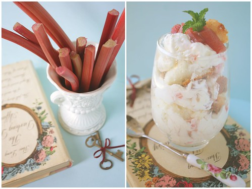 Rhubarb Fool over Angel Food Cake