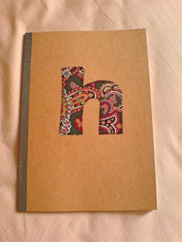 There, much better! I tried another scrap fabric appliqued to the book, using a zig-zag stitch.