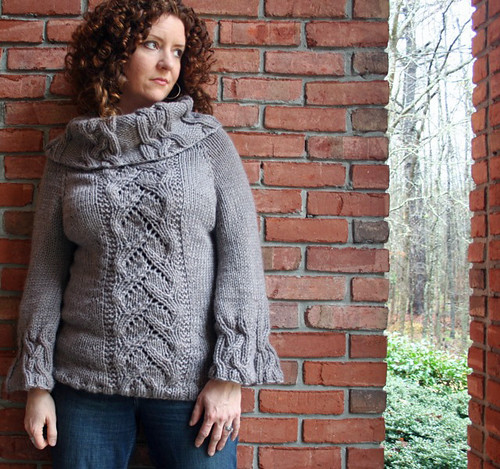 Cable and Lace Cowl Neck Sweater