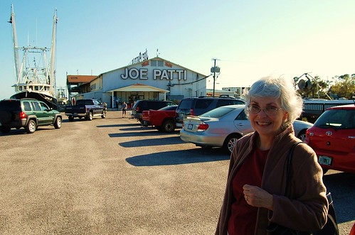 Mum outside Pensacola's best fresh seafood store.