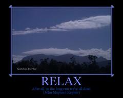 Poster: RELAX (blue sky, mountain, Tasmania)