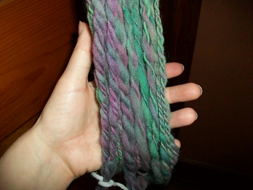 Dyed wool spindled as my beginner project.