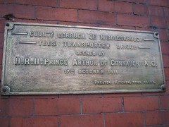 Middlesbrough Transporter Bridge Opening Plaque