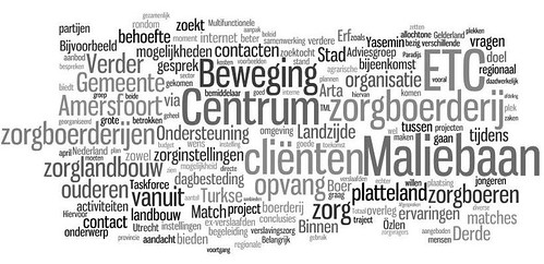 Eindrapport Zorglandbouw matches Amersfoort - Tag cloud