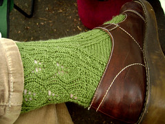 green leaf socks side