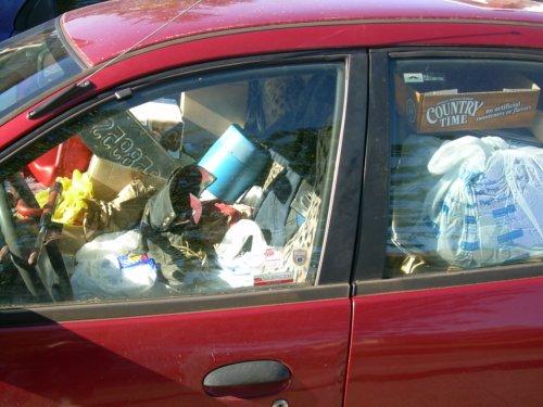 Car full of junk