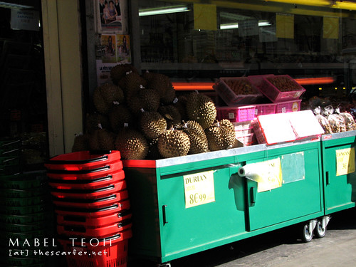 Durians available for sale in Chinatown
