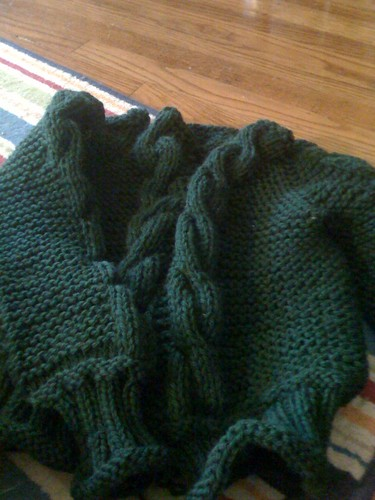 Bulky Cabled Cardigan in progress