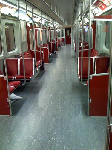 Empty subway car
