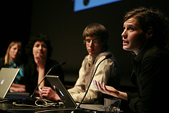 Kiasma Theatre, 6th March, Presentation of Expedition to the Total Eclipse,Ulla Taipale, Mireia C. Saladrigues, Tommi Taipale, Agnes Meyer-Brandis photo: Antti Ahonen
