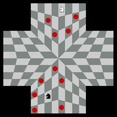 Jugar al Ajedrez entre infinitas personas ya es posible. Aquí el caballo en el tablero para 4 jugadores.